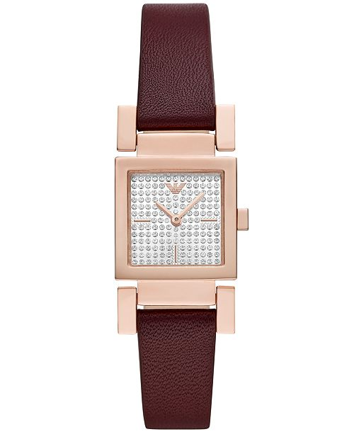 Emporio Armani Women's Burgundy Leather Strap Watch 22x22mm