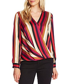Striped Wrap-Front Top