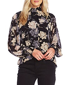 Enchanted Floral-Print Smocked Mock-Neck Top