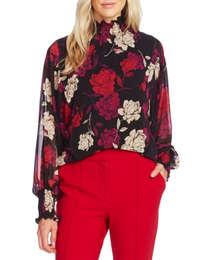Vince Camuto Tops ENCHANTED FLORAL-PRINT SMOCKED MOCK-NECK TOP