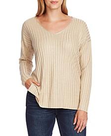 Ribbed Metallic V-Neck Sweater