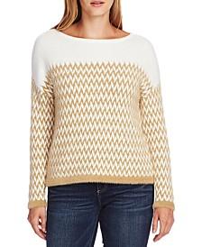 Eyelash-Trim Chevron Jacquard Sweater