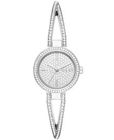 DKNY Women's Crosswalk Pavé Stainless Steel Bangle Bracelet Watch 26mm