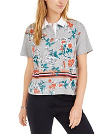 Cotton Cropped Floral Polo Shirt
