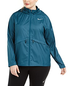 Plus Size Essential Water-Repellent Hooded Running Jacket