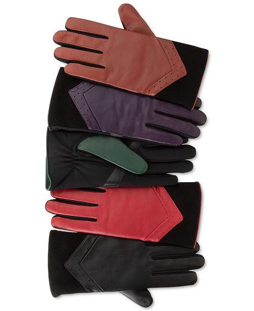 Isotoner Signature Women's SleekHeat® Leather smarTouch® Gloves with Fleece Lining