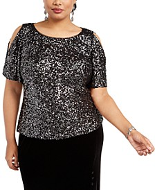 Plus Size Allover-Sequin Cold-Shoulder Top