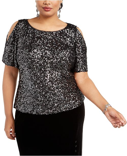 Alex Evenings Plus Size Allover-Sequin Cold-Shoulder Top