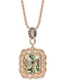 "Mint Julep Quartz (5-1/2 ct. t.w.) & Diamond (1/3 ct. t.w.) 20"" Pendant Necklace in 14k Rose Gold"