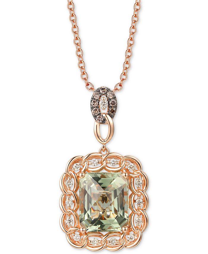"""Le Vian - Mint Julep Quartz (5-1/2 ct. t.w.) & Diamond (1/3 ct. t.w.) 20"""" Pendant Necklace in 14k Rose Gold"""