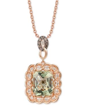 "Mint Julep Quartz (5-1/2 ct. t.w.) & Diamond (1/3 ct. t.w.) 20"" Pendant Necklace in 14k Rose Gold"