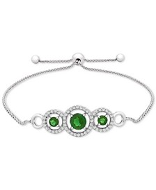 Lab-Created Emerald (3/4 ct. t.w.) & White Sapphire (1/3 ct. t.w.) Bolo Bracelet in Sterling Silver