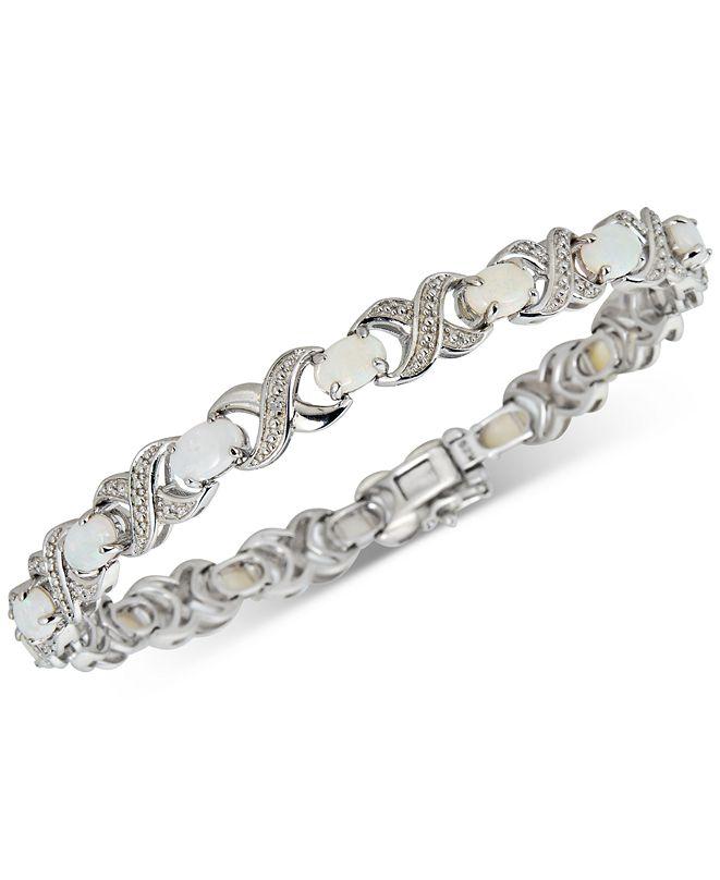 Macy's Opal (4 ct. t.w.) & Diamond (1/20 ct. t.w.) Bracelet in Sterling Silver