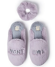 Women's Night Owl Scuff Slipper with Scrunchie, Online Only