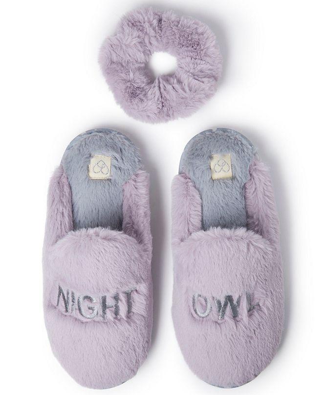 Dearfoams Women's Night Owl Scuff Slipper with Scrunchie, Online Only