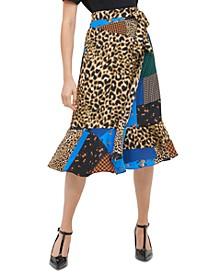 Patchwork-Print Flare-Hem Skirt