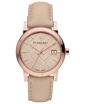 Burberry Watch, Women's Swiss Nude Leather Strap 34mm BU9109 - Watches - Jewelry & Watches - Macy's