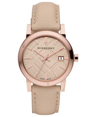 Burberry watch women 39 s swiss nude leather strap 34mm bu9109 watches jewelry watches macy 39 s for Burberry watches