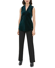 Pleat-Neck Sleeveless Velour Top