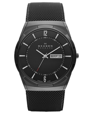 Skagen Watch, Men's Black Titanium Mesh Bracelet 40mm SKW6006