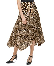 Leopard-Print Handkerchief-Hem Skirt