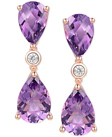 Amethyst (5-1/3 ct. t.w.) & Diamond (1/20 ct. t.w.) Drop Earrings in 14k Rose Gold (Also in Pink Topaz, Mystic Topaz & Citrine)
