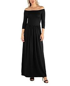 Women's Off Shoulder Pleated Waist Maxi Dress