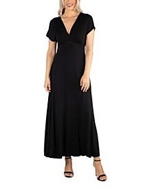 Women's Cap Sleeve V Neck Maxi Dress