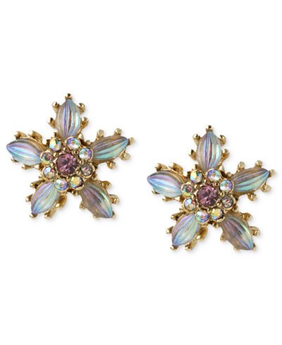 Betsey Johnson Antique Gold-Tone Crystal Flower Stud Earrings