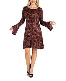 Women's Bell Sleeve Knee Length Shift Dress