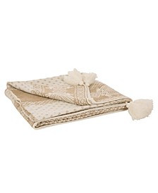 Knitted Lurex Throw Blanket with Tassels