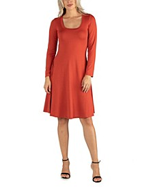 Women's Long Sleeve Flared T-Shirt Dress
