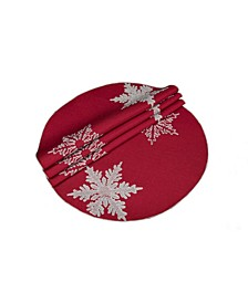 "Glisten Snowflake Embroidered Christmas Round Placemats, 16"" Round, Set of 4"