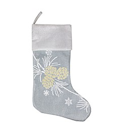 Winter Pine Cone Christmas Stocking, 20""