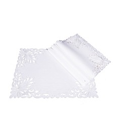"Wilshire Embroidered Cutwork Placemats, 14"" x 20"", Set of 4"