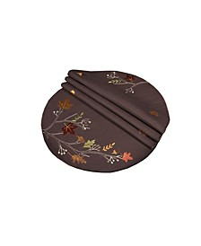 "Autumn Branches Embroidered Fall Round Placemats, 16"", Set of 4"