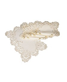 "Scalloped Lace Embroidered Cutwork Placemats, 13"" x 19"", Set of 4"