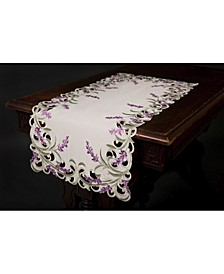 """Lavender Lace Embroidered Cutwork Table Runner, 15"""" x 34"""""""