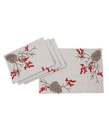 Christmas Pine Cone Crewel Embroidered Placemats, Set of 4