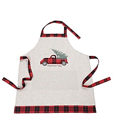 Vintage Tartan Truck with Christmas Tree Apron