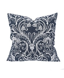 """Jacquard Crewel Embroidered Pillow, 20"""" x 20"""" with Feather Insert"""