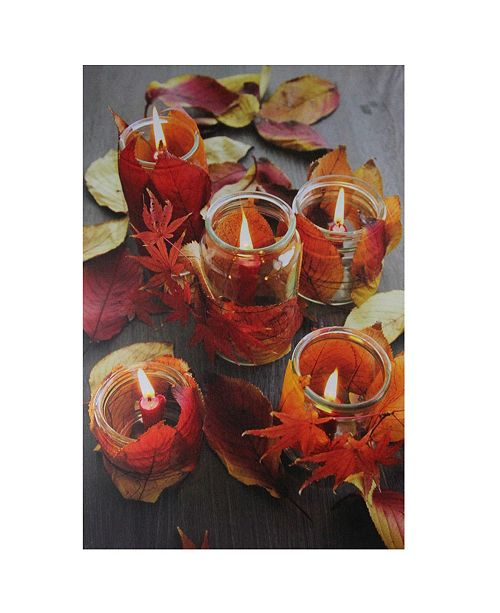 """Northlight LED Lighted Autumn Leaves and Flickering Candles Canvas Wall Art, 23.5"""" x 15.75"""""""