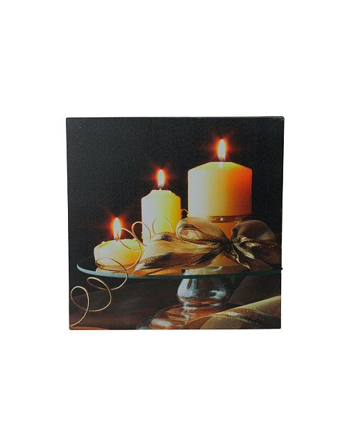 """Northlight LED Lighted Flickering Candles and Leaves Canvas Wall Art, 12"""" x 12"""""""