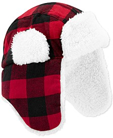Baby Boys Buffalo-Check Hat With Faux-Sherpa Lining