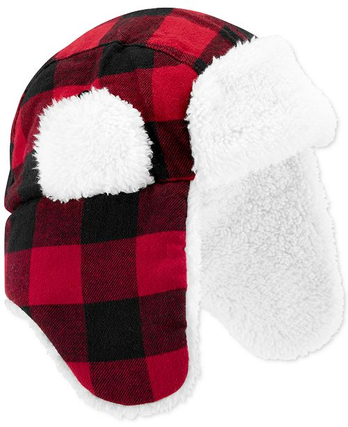 Carter's Baby Boys Buffalo-Check Hat With Faux-Sherpa Lining