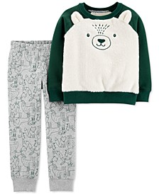 Toddler Boys 2-Pc. Faux-Fur Bear Top & Printed Jogger Pants Set