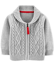 Baby Boys Cotton Zip-Up Cable Knit Cardigan