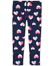 Toddler Girls Heart-Print Fleece Leggings