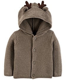 Baby Boys Cotton Hooded Reindeer Cardigan