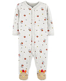 Baby Boys or Girls Turkey-Print Cotton Footed Coverall